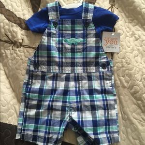 Carter's New with tags blue plaid 2 PC overall set